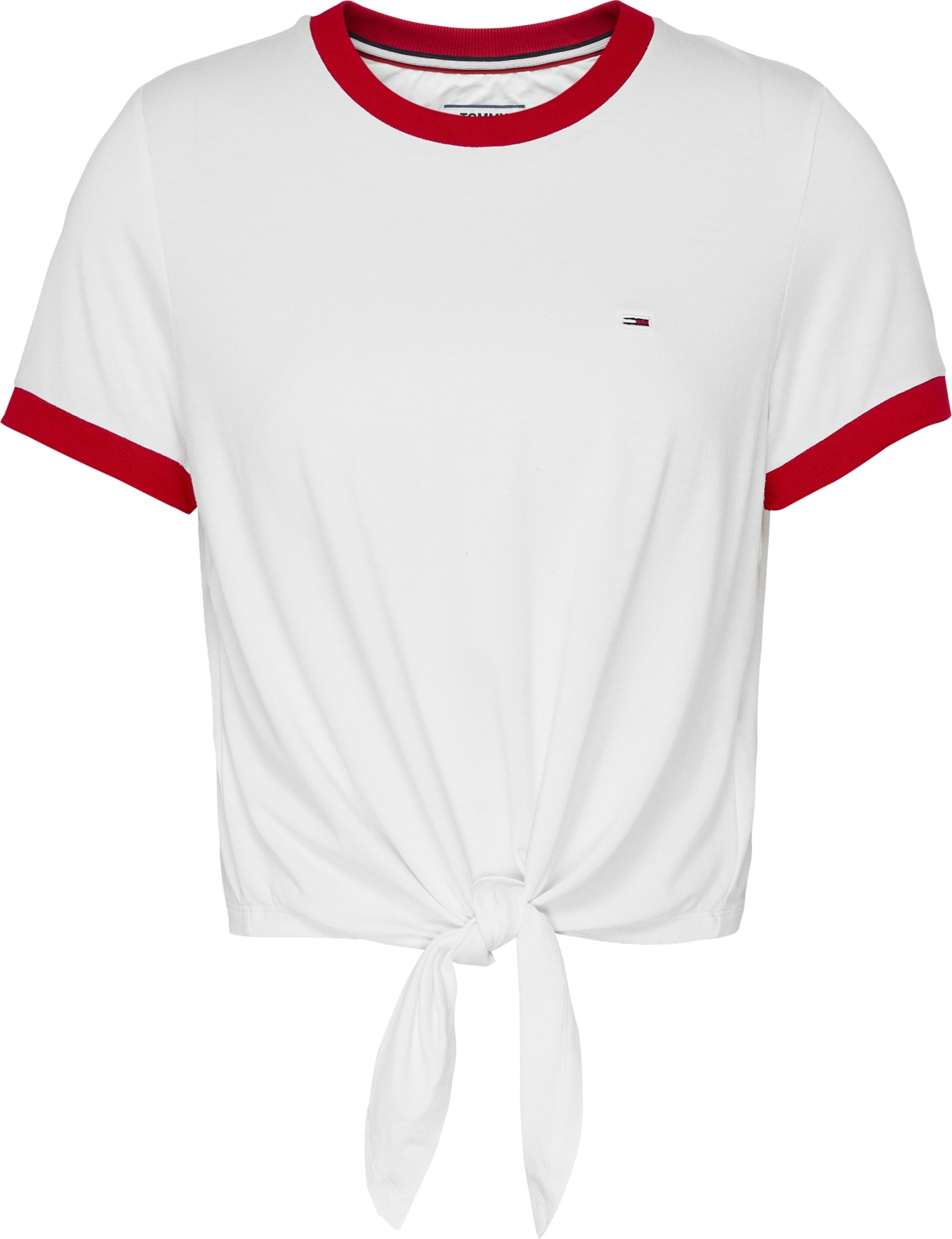 Front Tie Tee in White