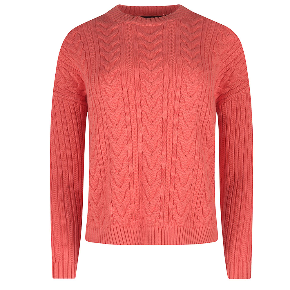 Dropped Shoulder Cable Crew in Orange