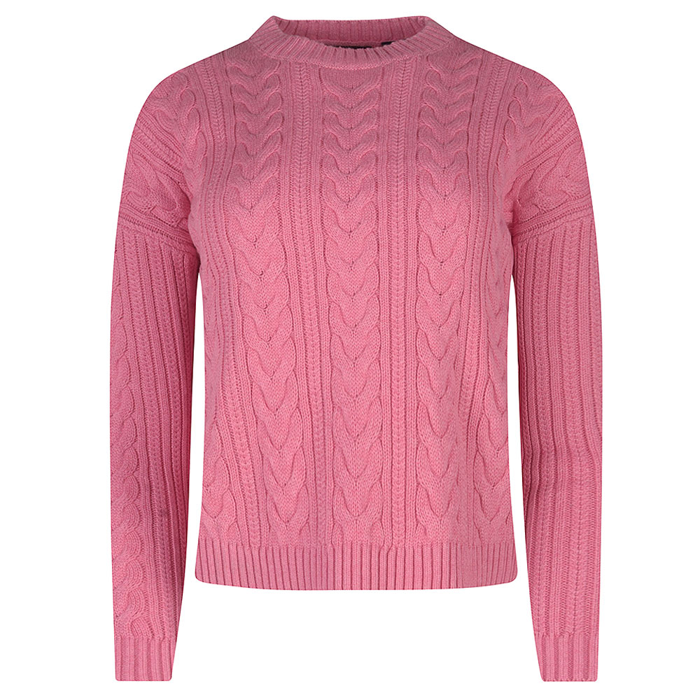 Dropped Shoulder Cable Crew in Pink