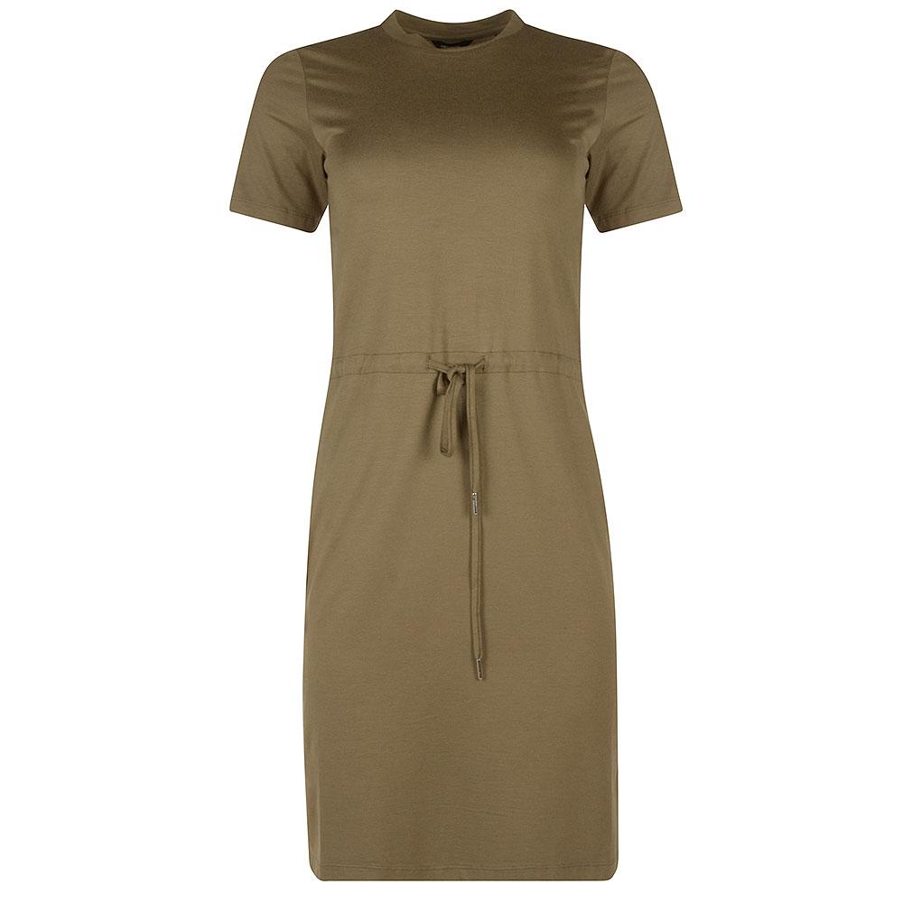 Drawstring T-Shirt Dress in Khaki
