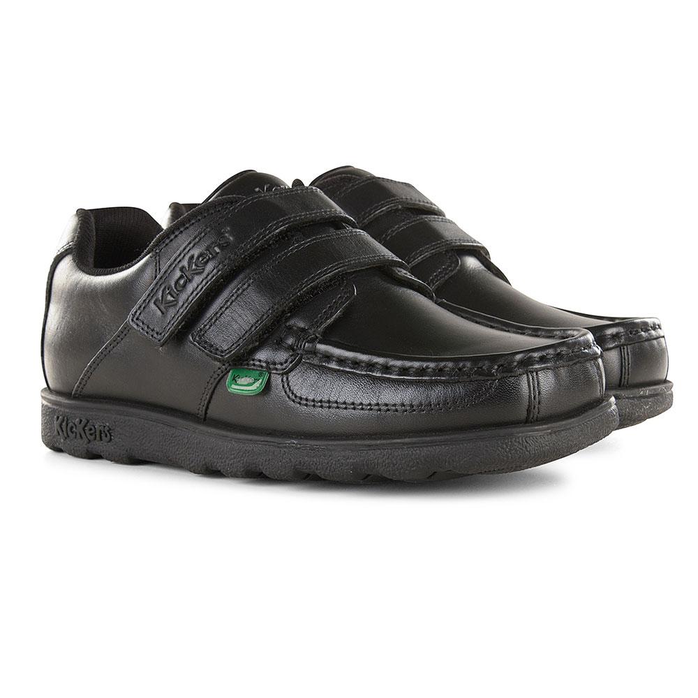 Fragma Twin Velcro School Shoe in Black