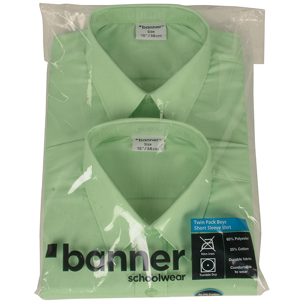 Boys School SS Shirt Double Pack in Green