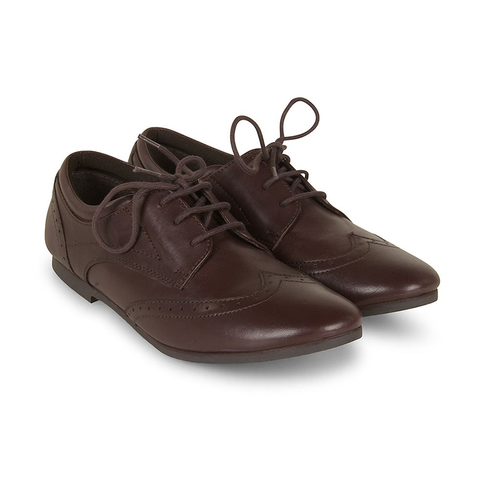 Tina Girls School Shoe in Brown