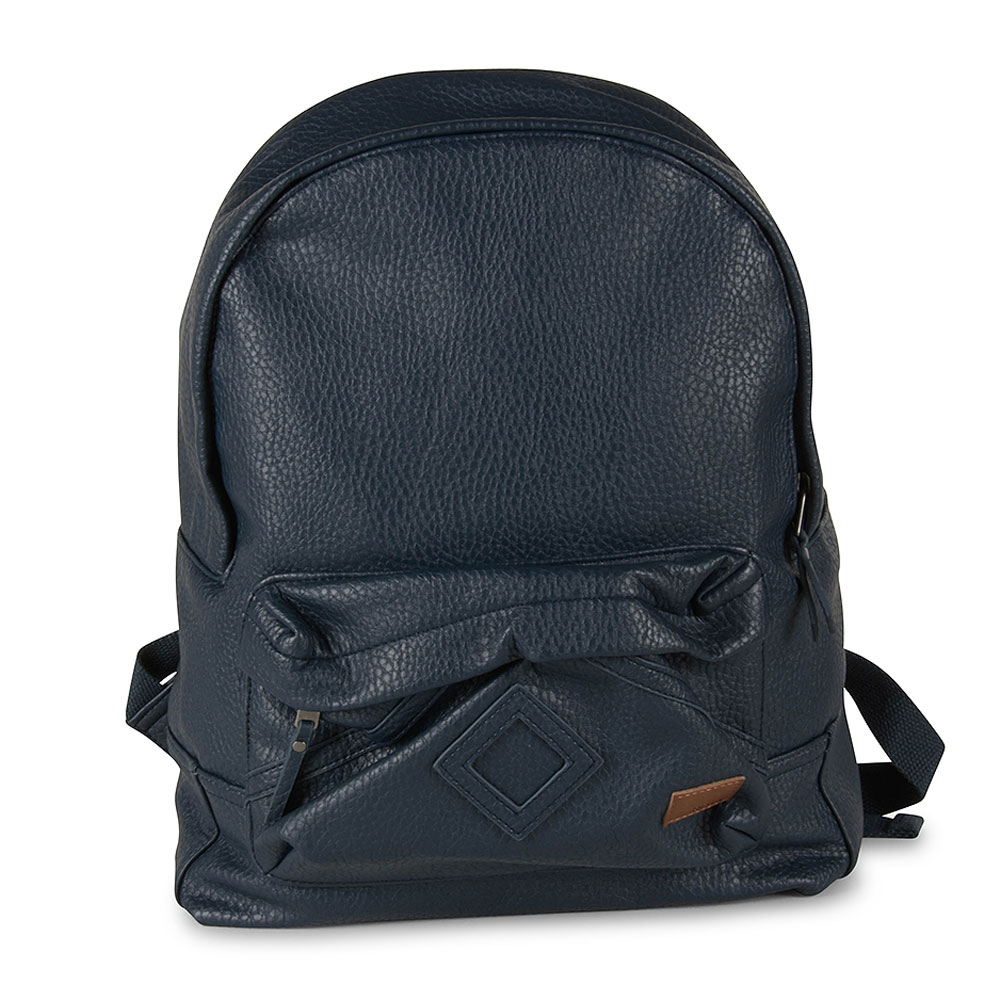 Wild Air Faux Leather Backpack in Navy