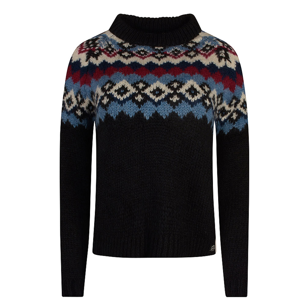 Womens Montana  Jacquard Knitted Jumper in Navy