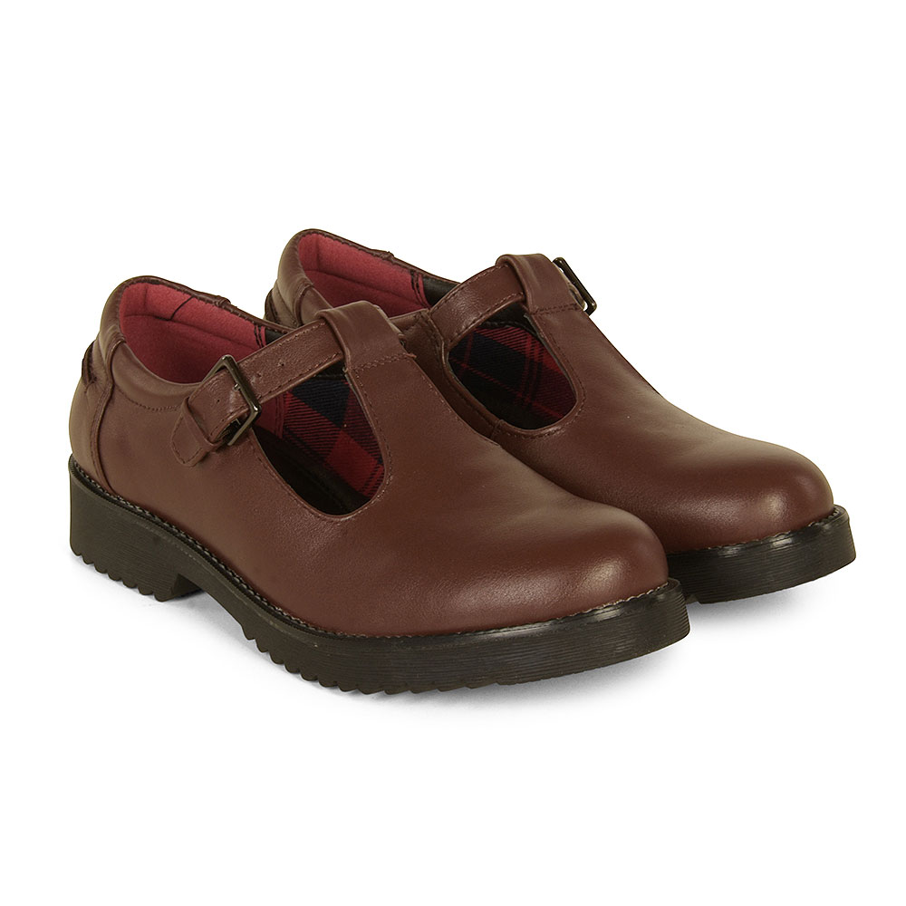 Cybele Strap School Shoe in Brown