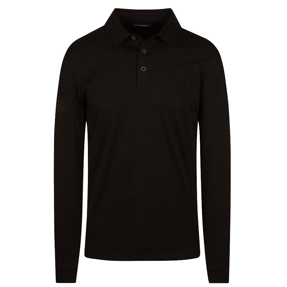 Long Sleeve Polo Shirt in Black