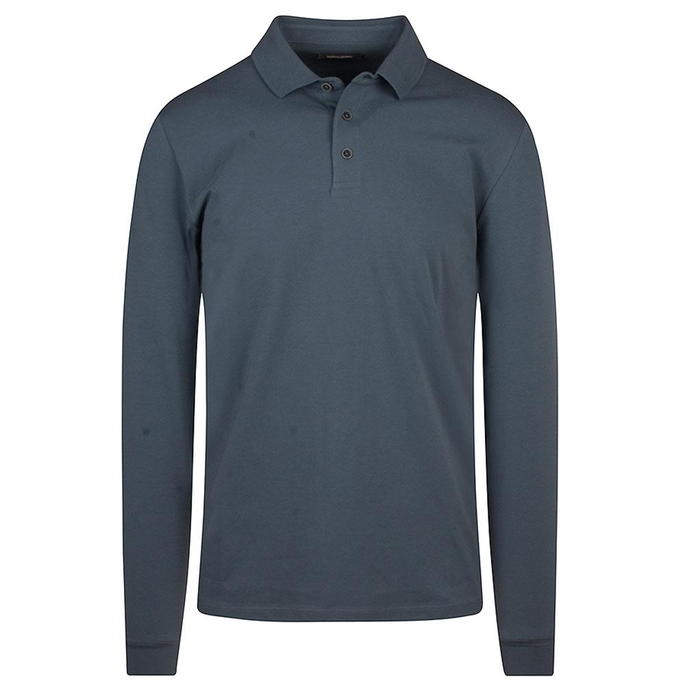 Long Sleeve Polo Shirt in Blue