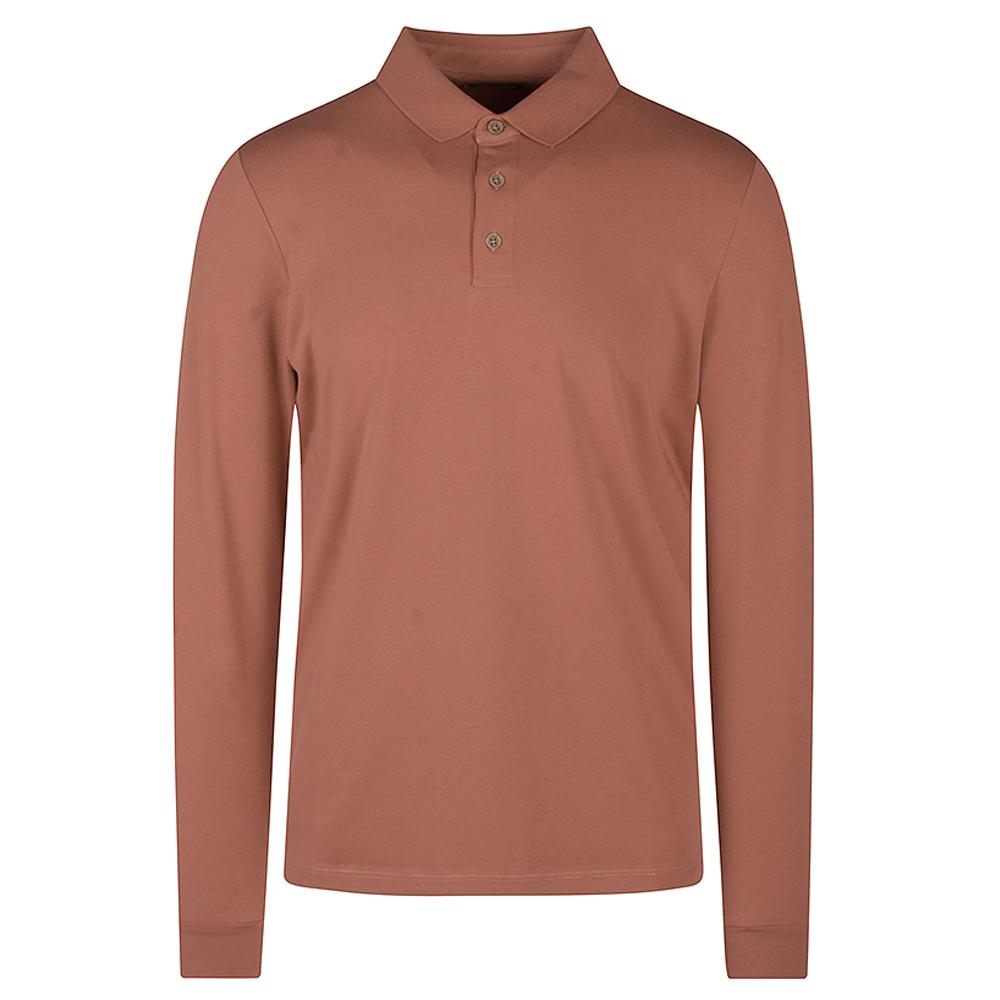 Long Sleeve Polo Shirt in Tan