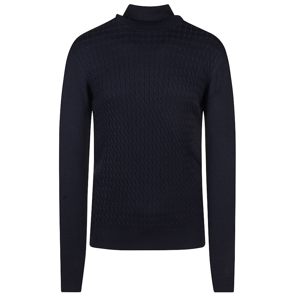 Fany Knit Polo Neck Sweater in Navy