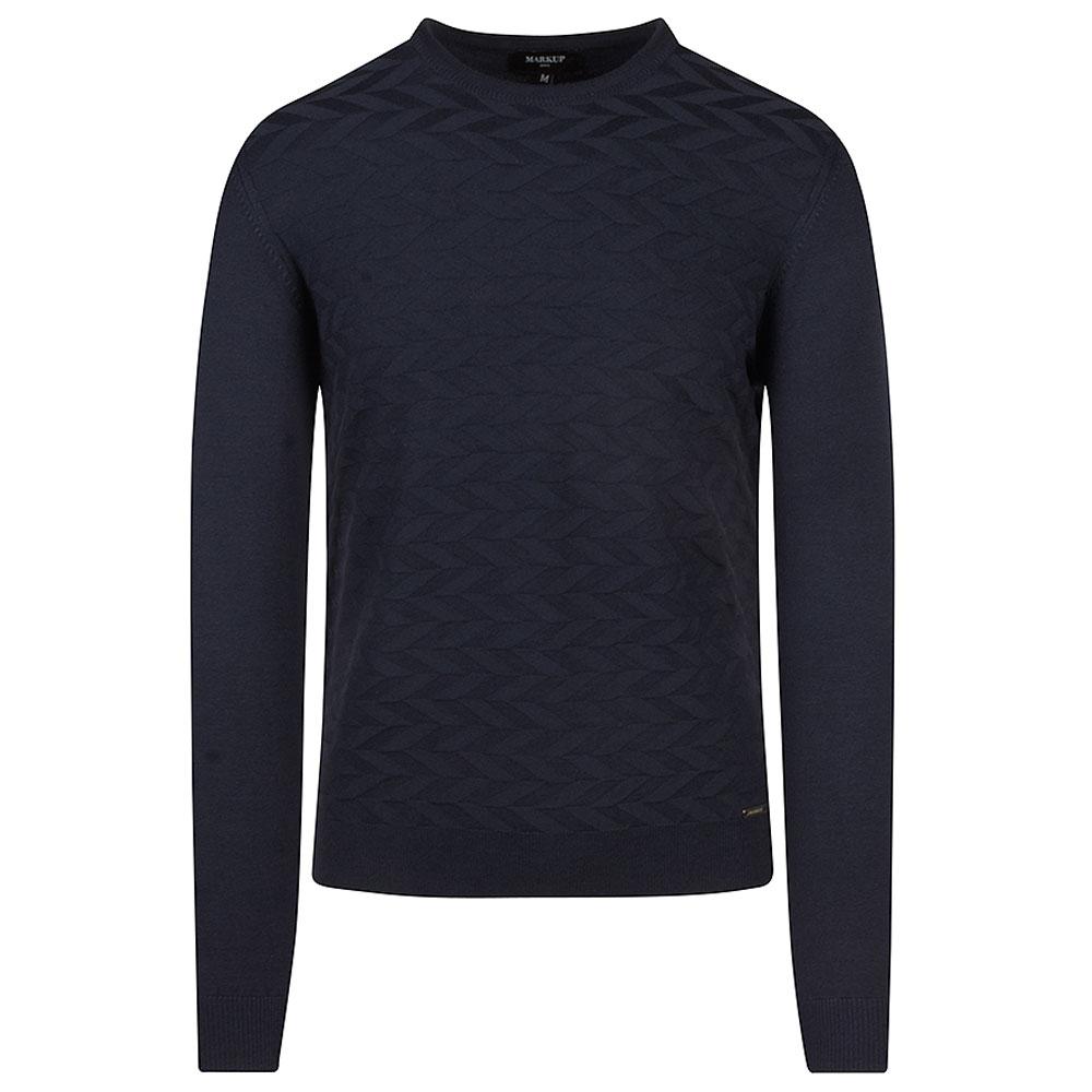 Fancy Knitted Sweater in Navy