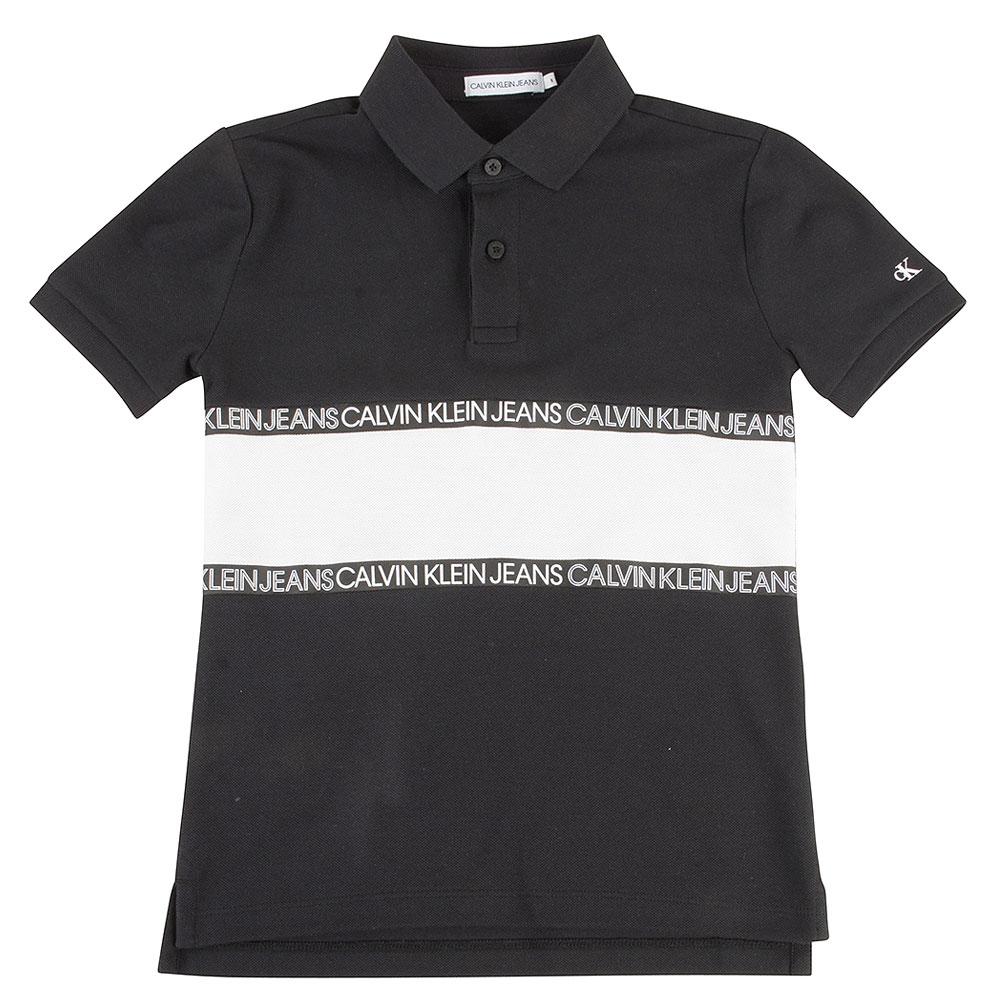 Kids Colour Block Polo in Black