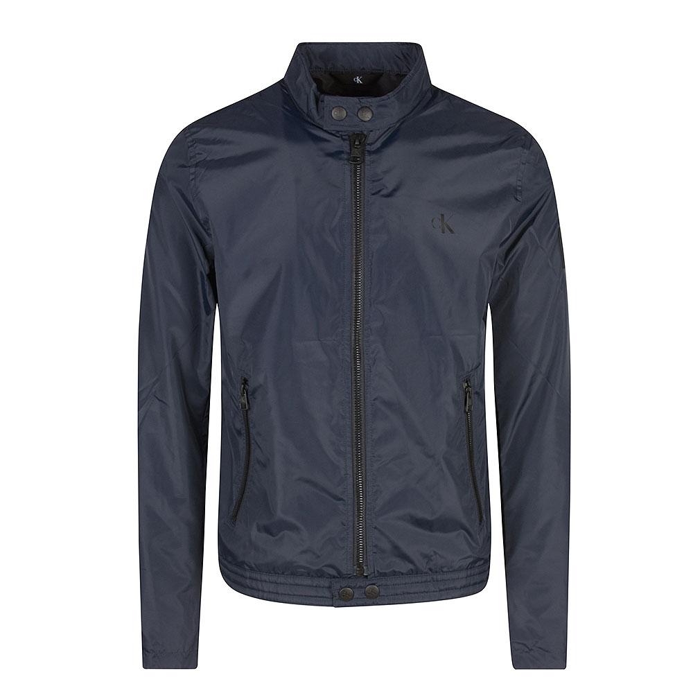 Nylon Biker Jacket in Navy